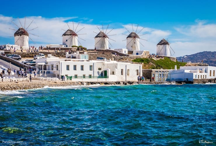 Iconic windmills of Mykonos, Greece