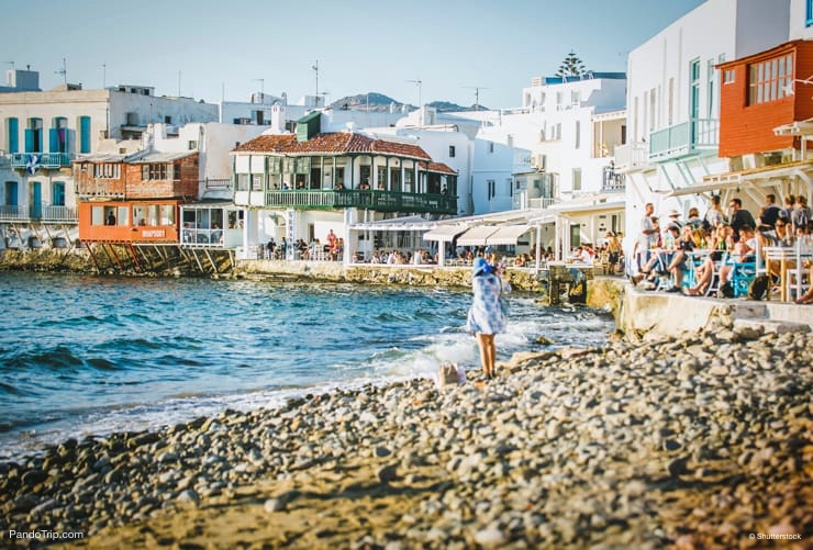 Little Venice bay of Mykonos town, Mykonos island in Greece