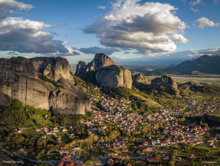 Meteora rock and town of Kastraki in Greece