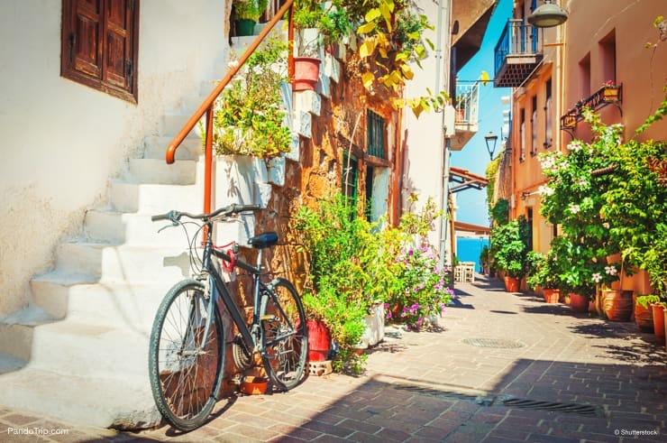 Narrow stone streets of Chania, Crete, Greece