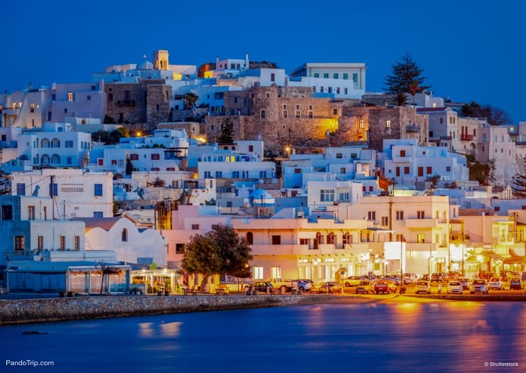Naxos Town at night. Greece