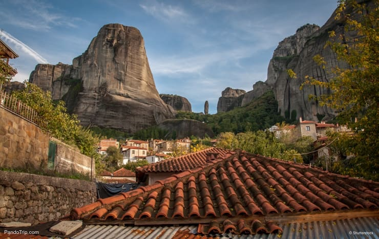Picturesque mountain cityscape in Kastraki, Meteora, Greece
