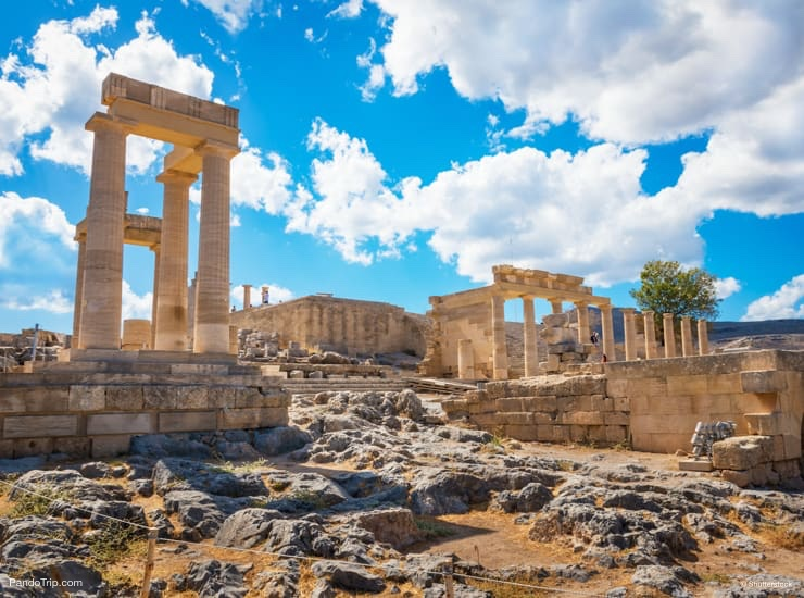 Stoa, portico and Propylaea on Acropolis of Lindos, Rhodes, Greece