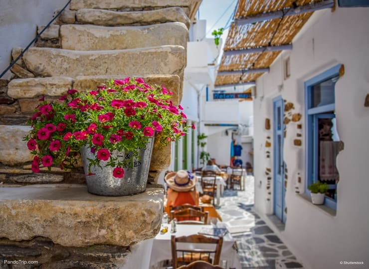 Traditional street on Naxos, Greece