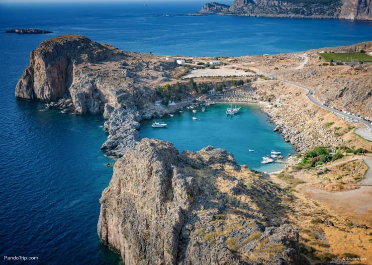View of St. Paul´s bay, Lindos village, Rhodes, Greece