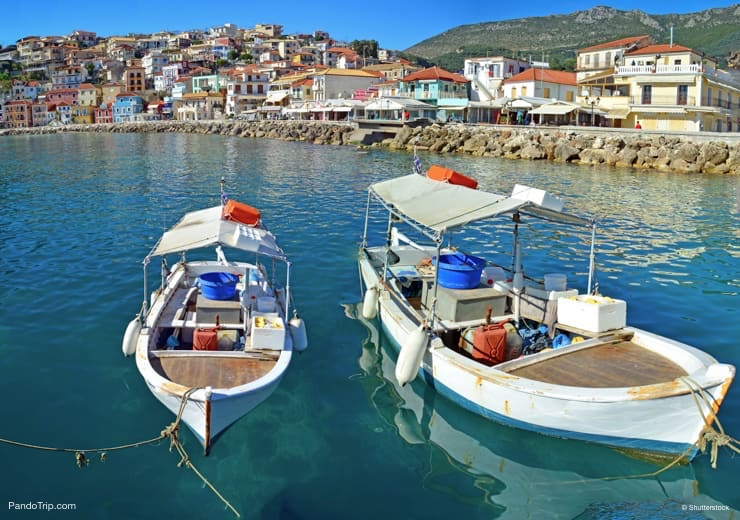 White Boats in Parga, Greece