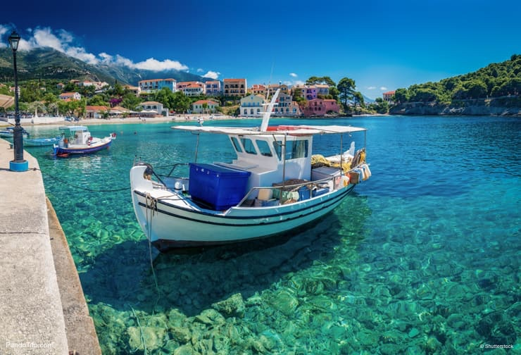 White blue boats in Assos village, Kefalonia island, Greece