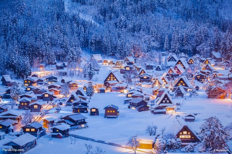 Aerial View of The Historic Village Shirakawa-go in Japan in Winter