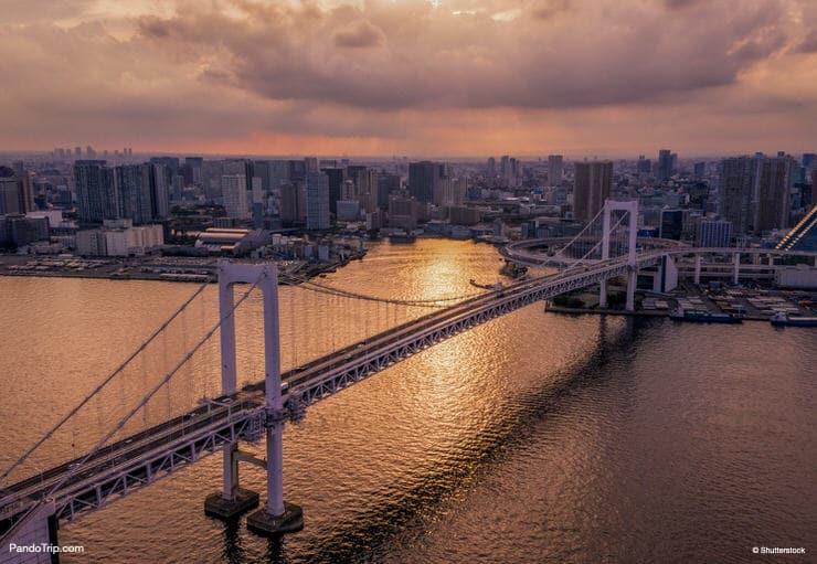 Aerial drone view of Rainbow Bridge, Odaiba, Tokyo, Japan