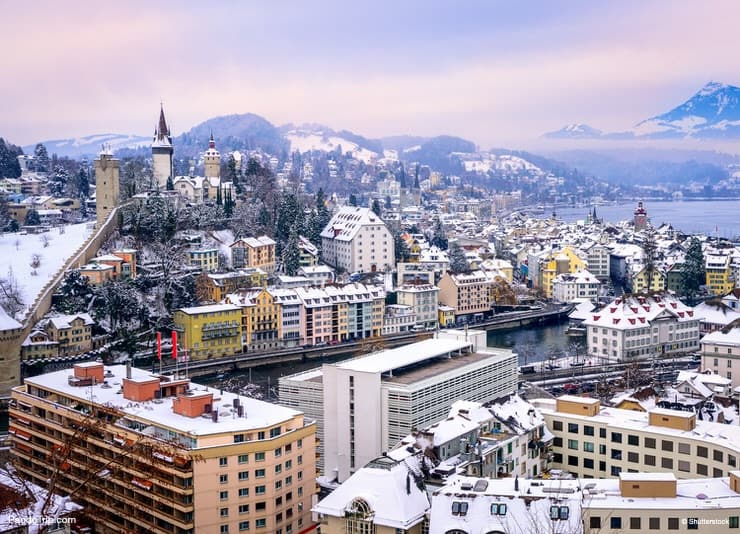 Aerial view of Lucerne during winter in Switzerland