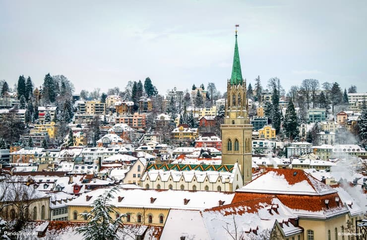 Aerial view of St Gallen in winter in Switzerland