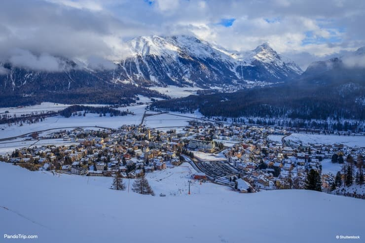 Aerial view of St Moritz in Switzerland during winter