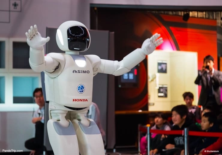 Asimo, the humanoid robot, at Miraikan, The National Museum of Emerging Science and Innovation, Odaiba, Tokyo, Japan