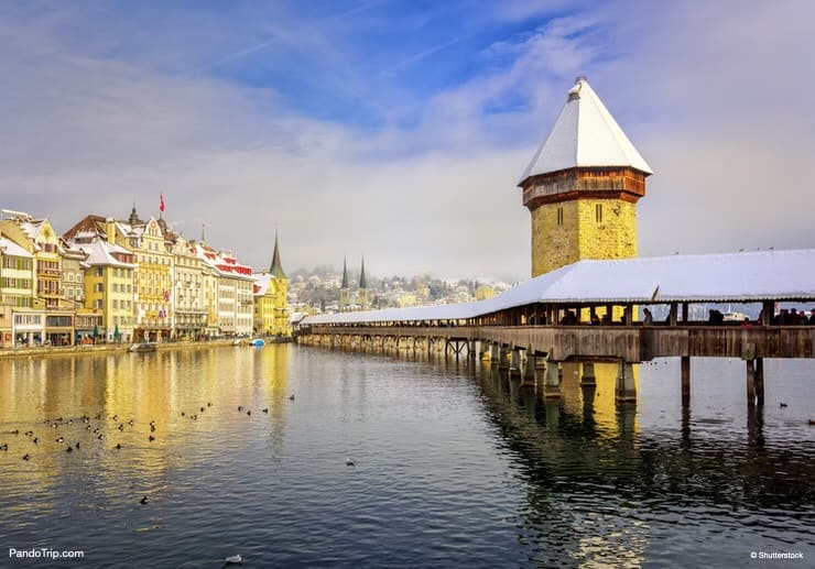 Chapel Bridge in Winter. The most famous landmark in Lucerne
