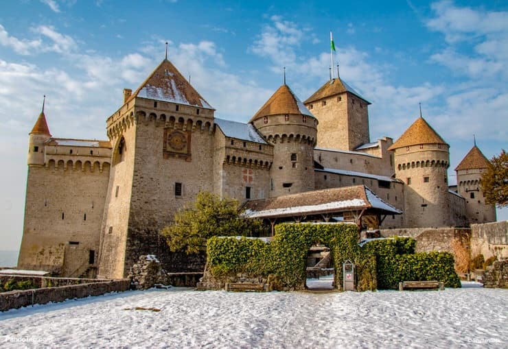 Chateau de Chillon in winter. Montreux, Switzerland