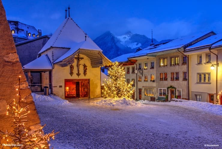 Christmas Gruyeres village in Switzerland