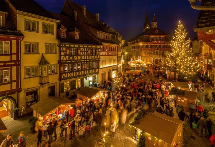 Christmas Market at City Hall square, Stein am Rhein, Switzerland