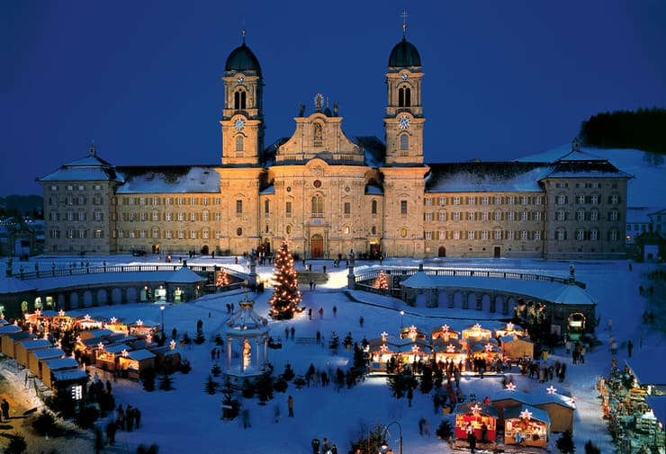 Christmas market in front of the Benedictine monastery in Einsiedeln, Switzerland