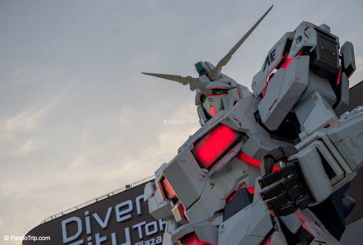 Closeup of Unicorn Gundam Statue, Odaiba, Tokyo, Japan