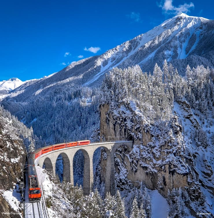 Famous Glacier Express in Switzerland. The train runs between St Moritz and the Oberalp Pass