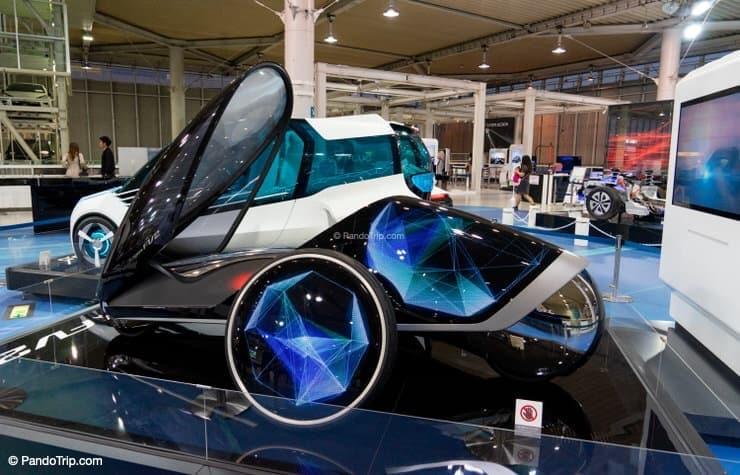 Futuristic cars at Toyota Mega Web in Odaiba, Tokyo, Japan