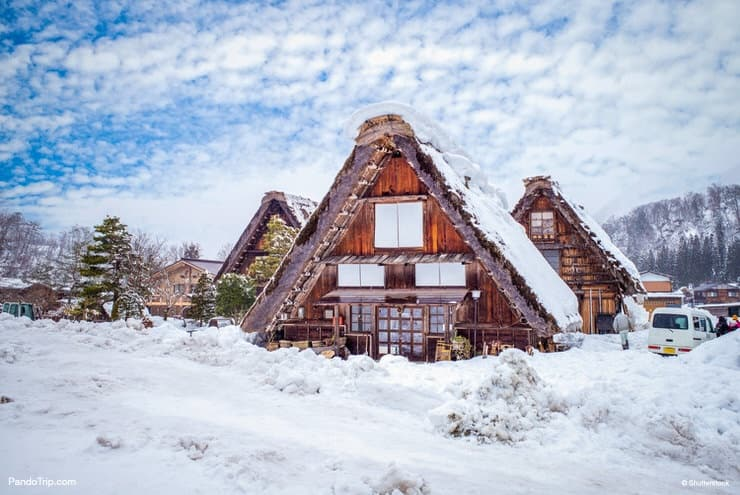 Gassho-zukuri house during winter in Shirakawa-go, Japan