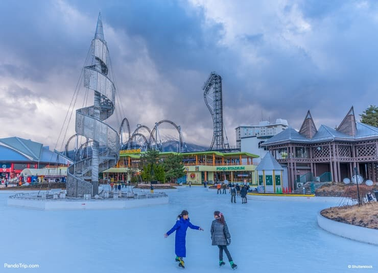 Ice Skating Rink at Fuji-Q Highland amusement park in Japan
