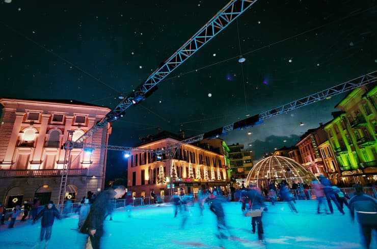 Ice rink at Piazza Grande in Locarno, Switzerland