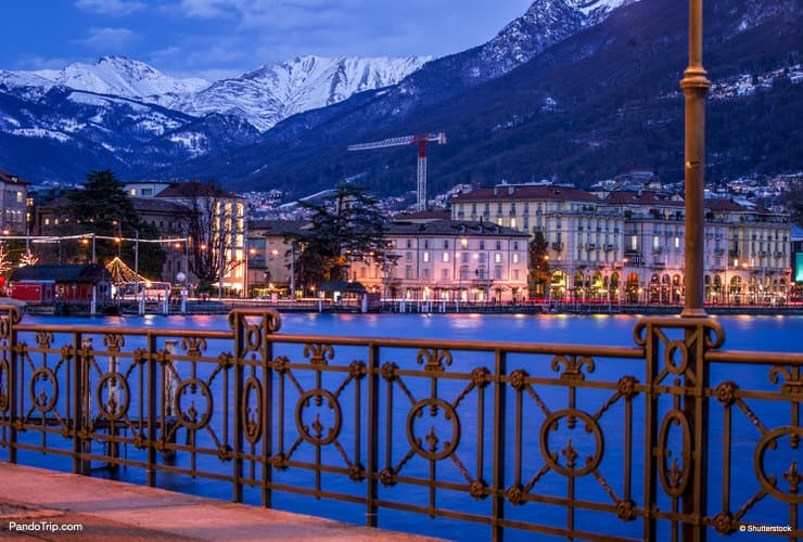 Lovely winter evening in Lugano, Switzerland
