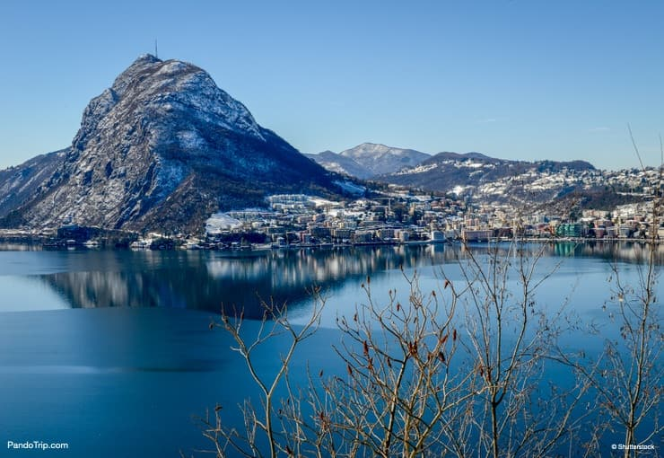 Lugano town in Switzerland during winter