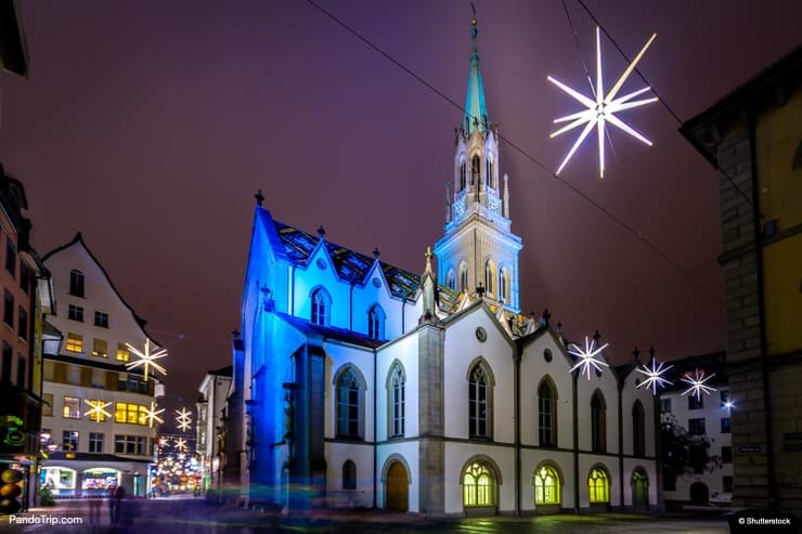 Night view of the St. Laurenzen Kirche in St. Gallen, Switzerland