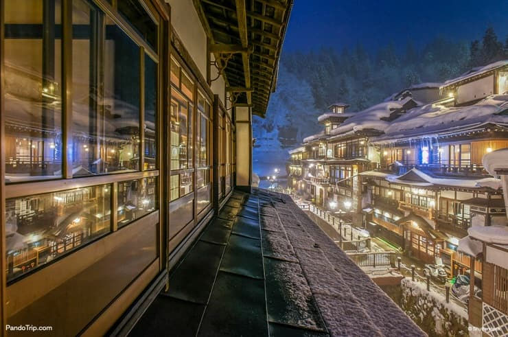 Snowy Ginzan Onsen at night in Japan