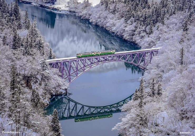Spectacular view of the JR Tadami Line during winter in Japan