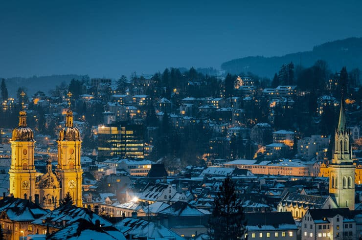 St. Gallen during winter at night in Switzerland