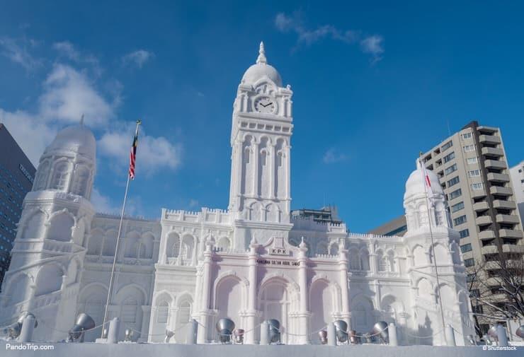 Sultan Abdul Samad Building sculpture made from snow. Sapporo Snow Festival in Sapporo, Hokkaido, Japan