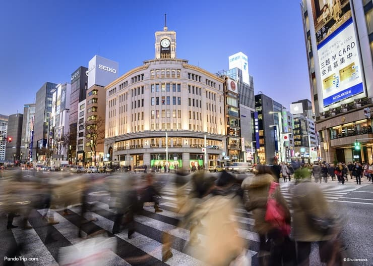 The Ginza District, a place for high end retail shopping in Japan during winter sales