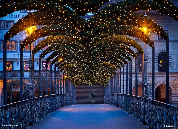 The Rathaussteg, a footbridge over Reuss river, illuminated during Christmas time in Lucerne, Switzerland