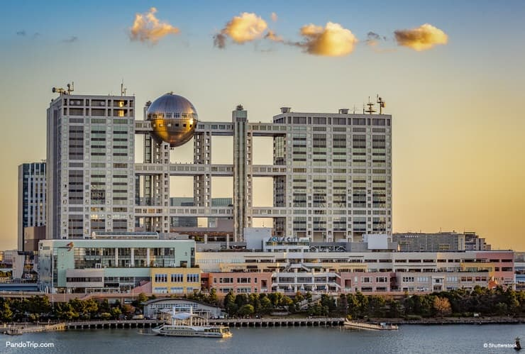 The futuristic Fuji TV Building in Odaiba, Tokyo, Japan