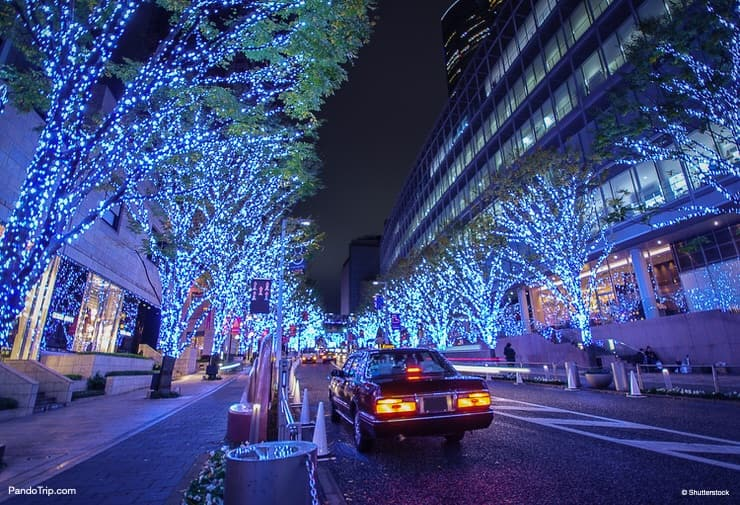 The most popular spot of Roppongi Hills Christmas Illumination - Keyakizaka Street. Tokyo, Japan