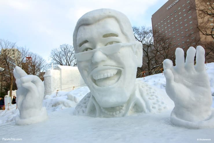 The snow statue of Daimaou Kosaka (aka Pikotaro). Sapporo Snow Festival in Sapporo, Hokkaido, Japan