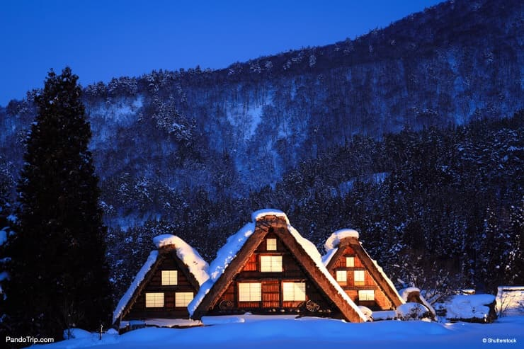 Traditional Houses in the Gassho Zukuri Style Shirakawa-go winter village in Gifu, Japan