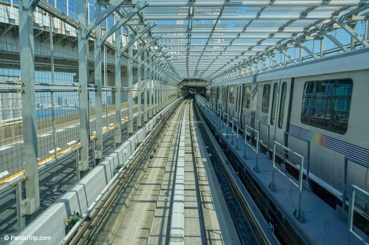 Tunnel rail road of Yurikamome line in Odaiba, Tokyo, Japan