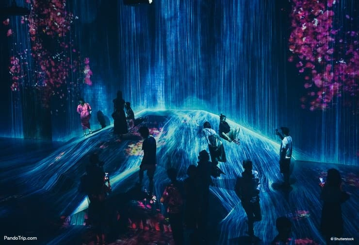 Waterfall and Flowers, Borderless World, TeamLab Borderless, Mori Digital Art Museum