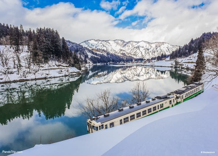 Winter view of Tadami Railway Line, Mishima Machi, Fukushima, Japan