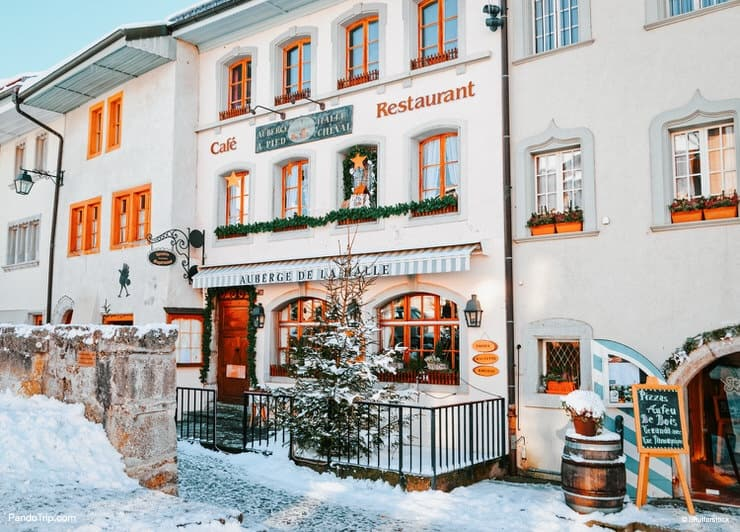 Winter in Gruyeres town in Switzerland_