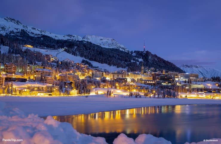 Winter night landscape of St Moritz in Switzerland