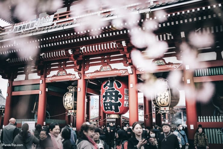 Kaminarimon or Thunder Gate that leads to the Senso-ji Temple in Asakusa