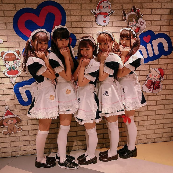 Maids at Maidreamin Cafe in Tokyo
