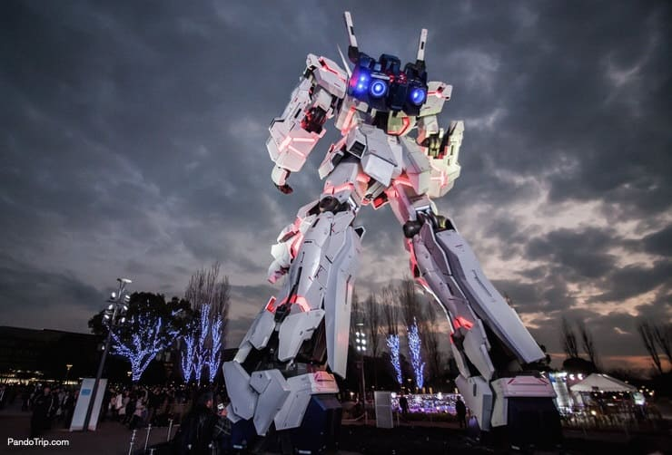 The Life-Sized Unicorn Gundam Statue in Odaiba, Tokyo