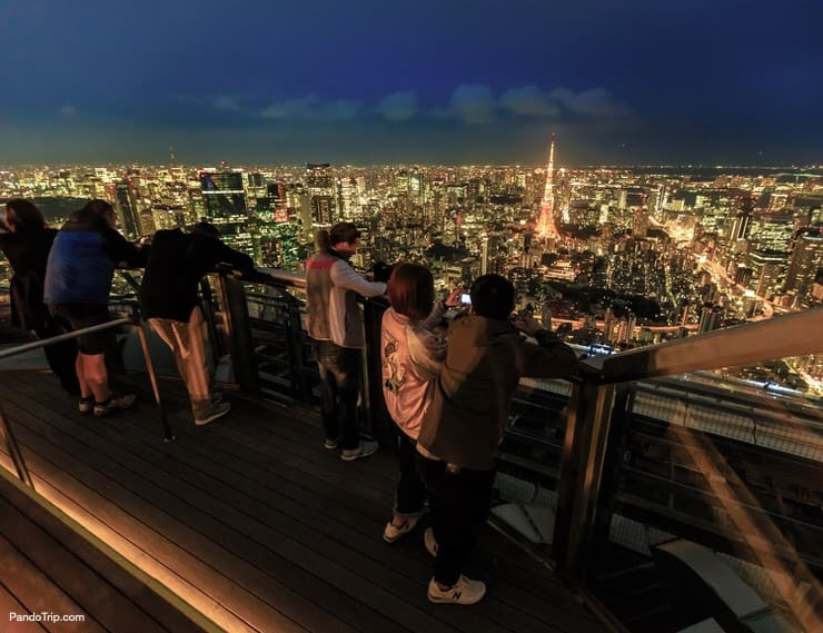 Tokyo Skyline and Tokyo Tower from top of the Mori Tower in Roppongi Hills, Minato District, Tokyo
